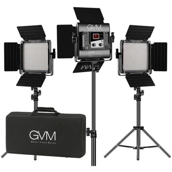 GVM 560AS Bi-Color LED Studio Video 3-Panel Light Kit